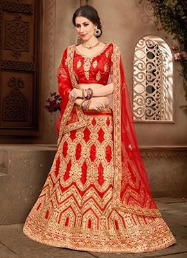 Red Art Silk A Line Lehenga