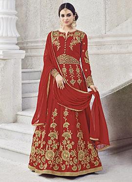 Red Art Silk Abaya Style Anarkali Suit