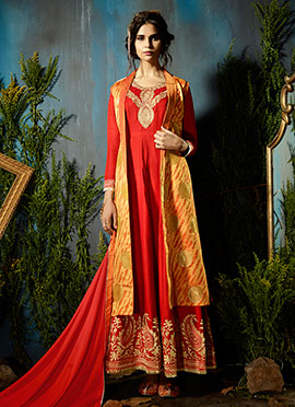 Red Art Silk Abaya Style Anarkali Suit