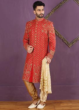 Red Art Silk Achkan Sherwani