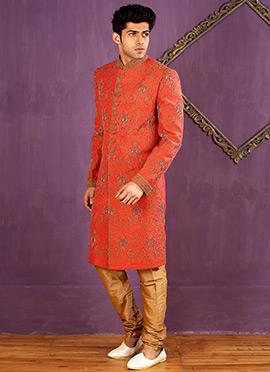 Coral Orange Art Silk Achkan Sherwani