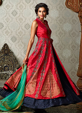 Red Art Silk Anarkali Lehenga