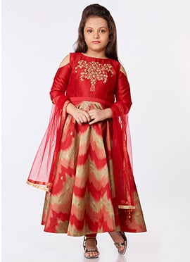 Red Art Silk Anarkali Suit