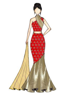 Red Art Silk and Gold Shimmer Georgette Fish Cut Lehenga with Gold Net Dupatta