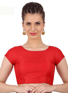 Red Art Silk Blouse