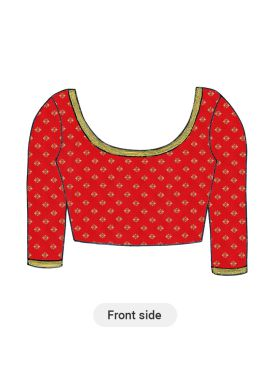 Red Art Silk Blouse with Elbow Sleeve