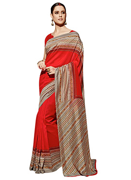 Red Art Silk Border Saree