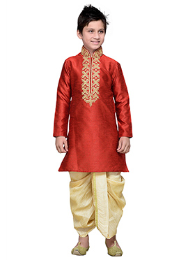 Red Art Silk Boys Dhoti Kurta