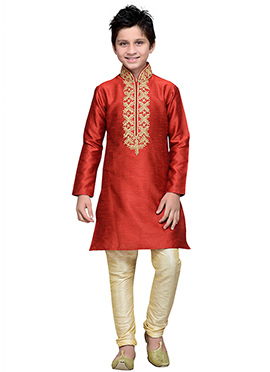 Red Art Silk Boys Kurta Pyjama