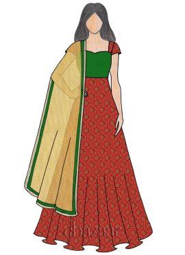 Red Art Silk Brocade Abaya Style Anarkali