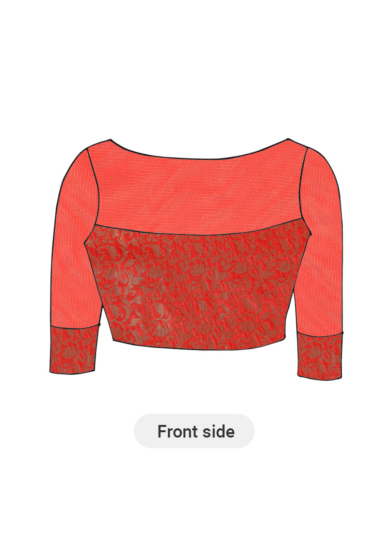 Buy Red Art Silk Brocade Blouse with Red Net sleeves ...