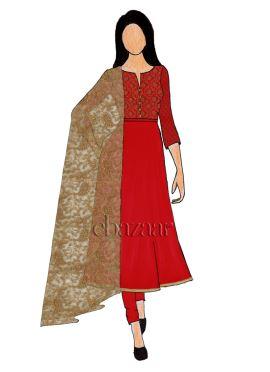 Red Art Silk Brocade Chudidar Suit