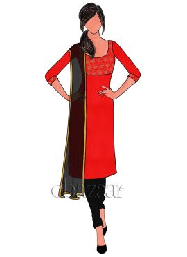 Red Art Silk Brocade Churidar Suit