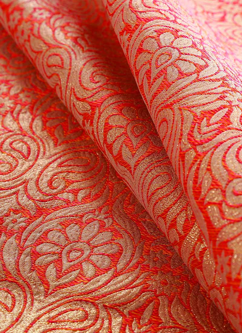 Buy Red Art Silk Brocade Fabric, Brocade, blended ... Vest Suits For Boys