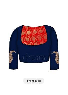 Red Art Silk Brocade Yoke Style Blouse