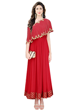 Red Art Silk Cape Style Gown