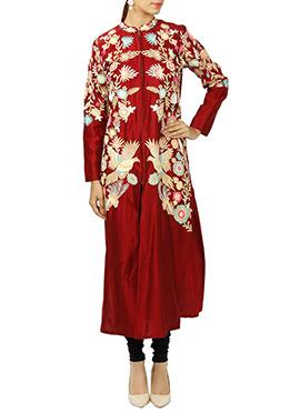 Red Art Silk Churidar Suit