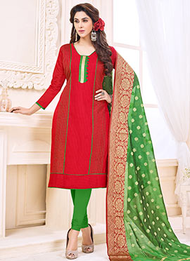 Red Art Silk Churidar Suit