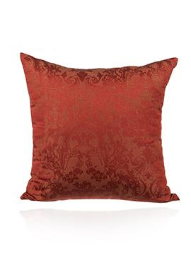 Red Art Silk Cotton N PolySilk Cushion Cover