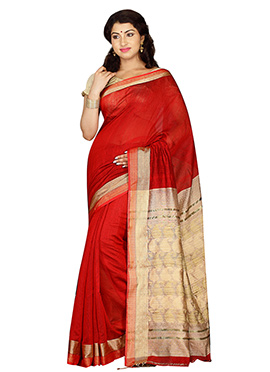 Red Bengal Handloom Tant Saree