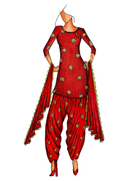 Red Art Silk Cowled Patiala Suit