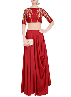 Red Art Silk Draped Style Skirt Set