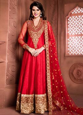 Red Art Silk Floor Length Anarkali Suit