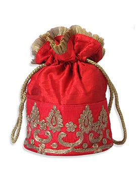 Red Art Silk Embroidered Potli Bag
