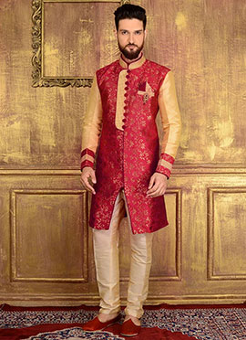 Red Art Silk Indowestern Sherwani