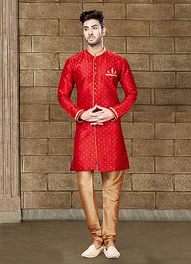 Red Art Silk Indowestern Sherwani