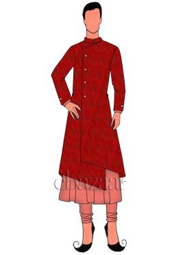 Red Art Silk Jacket Style Sherwani