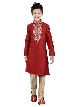 Red Art Silk Kids Kurta Pyjama
