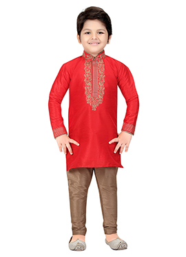 Red Art Silk Kids Kurta Pyjama
