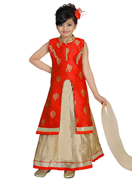 Red Art Silk Kids Lehenga