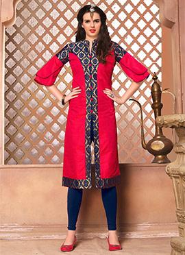 Red Art Silk Knee Length Kurti