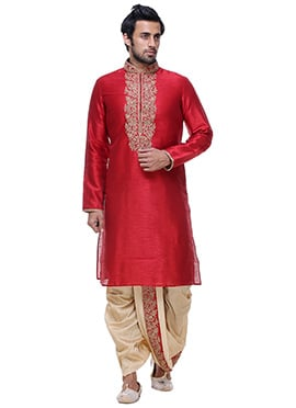 Red Art Silk Kurta Dhoti Set