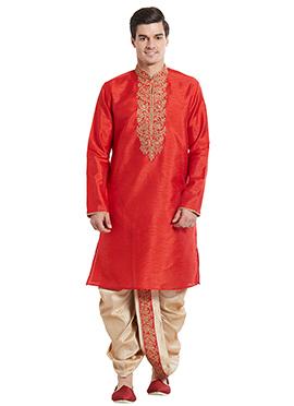 Red Art Silk Kurta Dhoti Set