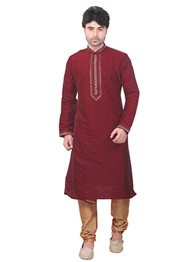 Red Art Silk Kurta Pyjama