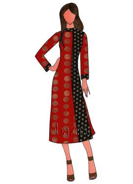 Red Art Silk Kurti