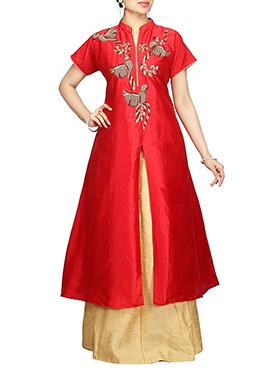 Red Art Silk Long Choli A Line Lehenga