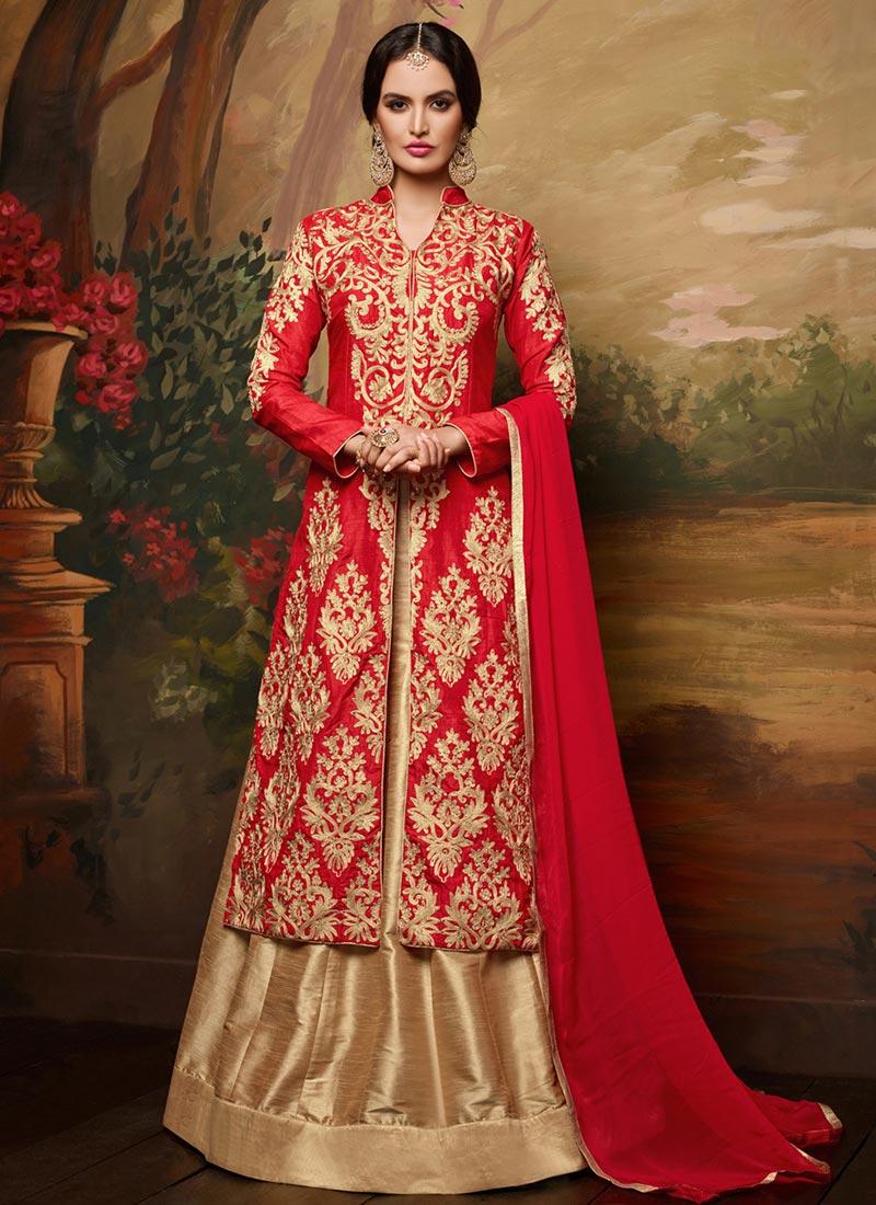 Buy Red Art Silk Long Choli Lehenga Umbrella Lehenga