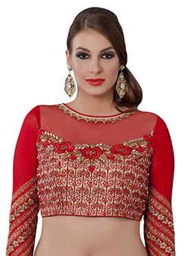 Red Art Silk N  Georgette Blouse