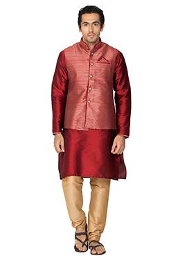 Red Art Silk N Jacquard Bandi Set