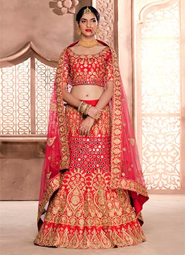 Red Art Silk N Net A Line Lehenga Choli