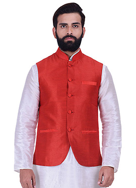 Red Art Silk Nehru Jacket