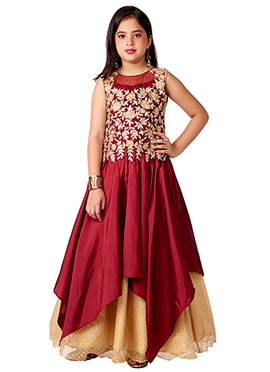 Maroon Satin Blend Net Anarkali Gown