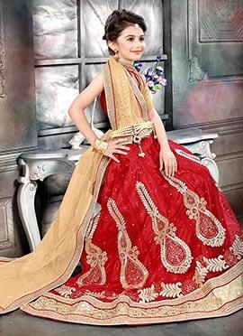 Red Art Silk Net Kids Lehenga