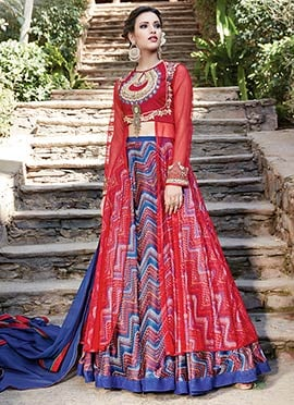 Red Art Silk Net Umbrella Lehenga