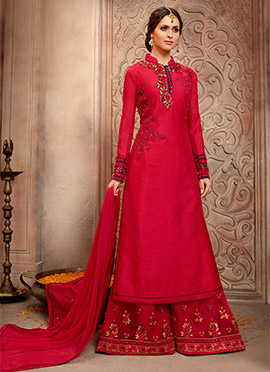 Red Art Silk Palazzo Suit