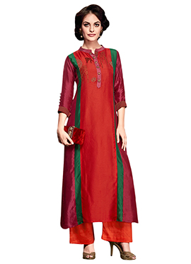 Red Art Silk Palazzo Suit